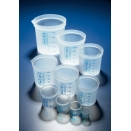 BDA212P beaker low form straight sided 25ml capacity natural polypropylene PP with blue printed graduations (pack of 10)