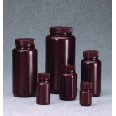 DS2185-0002 60ml amber brown high density polyethylene HDPE round wide mouth neck leakproof general purpose economy laboratory bottle with screw cap (pack of 72)