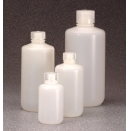 2097-0016 500ml natural fluorinated high density polyethylene HDPE round narrow mouth neck leakproof general purpose laboratory bottle with screw cap (pack of 12)