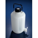 BGH034 aspirator 5000ml 5L capacity natural high density polyethylene HDPE round narrow mouth neck with screw cap with carry handle with stopcock spigot tap (pack of 1)