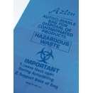 BWY200 autoclave bag 300mm x 608mm blue polypropylene PP printed with biohazard symbol and hazardous waste instructions (pack of 100)
